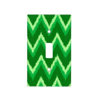 Rayas de Ikat Chevron - pino y verde lima Placa Para Interruptor