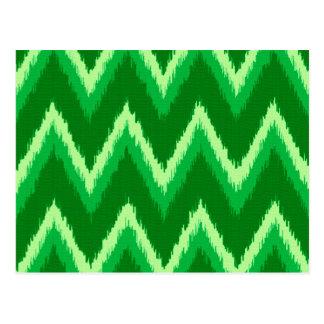 Rayas de Ikat Chevron - pino y verde lima Postales