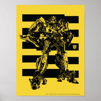 Rayas de la abeja del abejorro póster