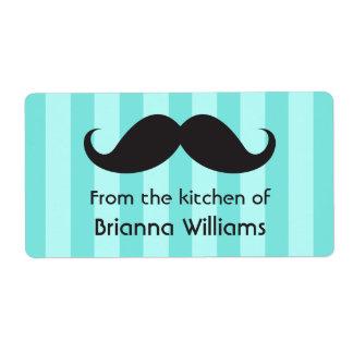 Rayas de la aguamarina del bigote de la cocina de etiquetas de envío