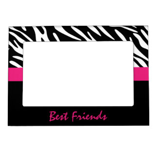 Rayas de la cebra de los amigos con el marco rosad marcos magneticos
