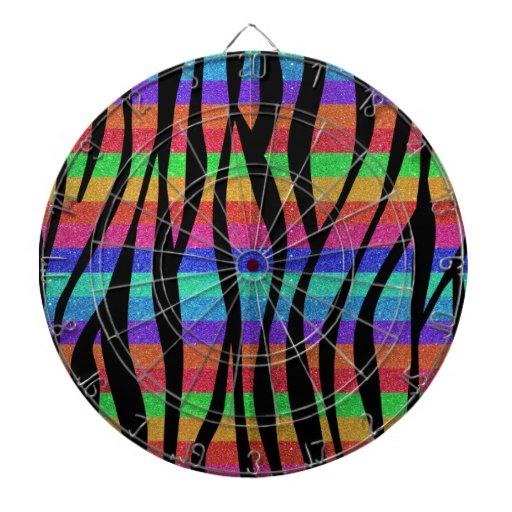 Rayas de la cebra del arco iris del brillo tablero de dardos