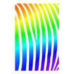 Rayas de la cebra del arco iris papeleria de diseño