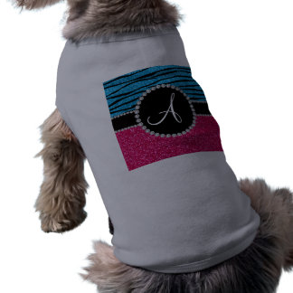 Rayas de la cebra del azul de cielo del brillo del camisetas de perrito