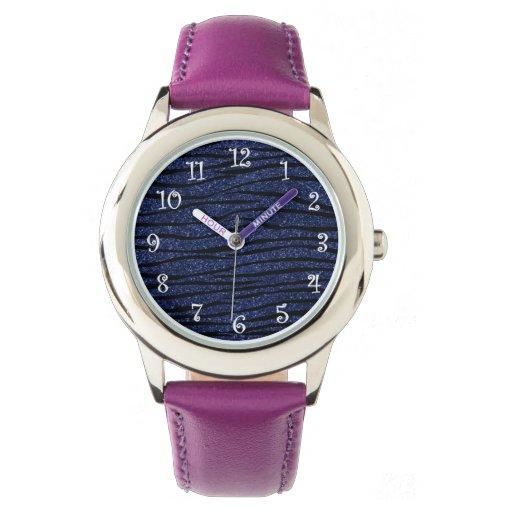 Rayas de la cebra del brillo de los azules marinos relojes de pulsera