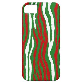 Rayas de la cebra del navidad iPhone 5 Case-Mate protector