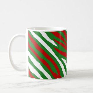 Rayas de la cebra del navidad taza de café