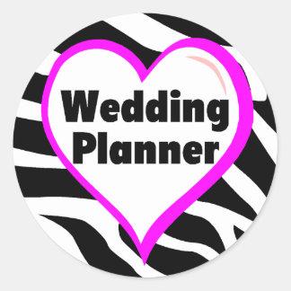 Rayas de la cebra del planificador del boda pegatina redonda
