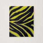 Rayas de la cebra en amarillo y negro puzzle