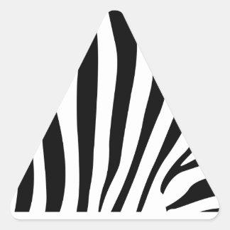 Rayas de la cebra en modelo blanco y negro pegatina triangular