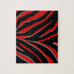 Rayas de la cebra en rojo y negro puzzle