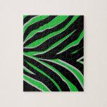 Rayas de la cebra en verde y negro rompecabeza con fotos