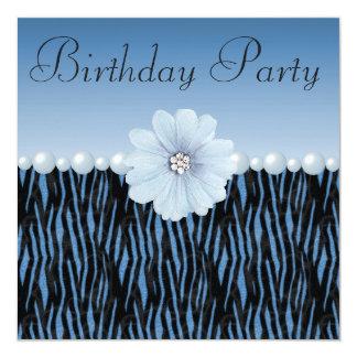 """Rayas de la cebra, perlas y fiesta de cumpleaños invitación 5.25"""" x 5.25"""""""