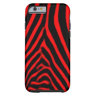 Rayas de la cebra rojas funda de iPhone 6 tough