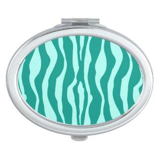 Rayas de la cebra - turquesa y aguamarina espejos compactos