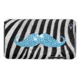 Rayas de la cebra y bigote azul de Bling iPod Case-Mate Carcasa