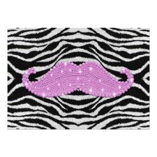 Rayas de la cebra y bigote rosado de Bling Comunicado Personal
