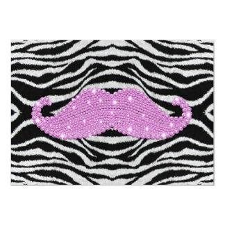 Rayas de la cebra y bigote rosado de Bling Invitación 12,7 X 17,8 Cm