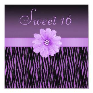 """Rayas de la cebra y dulce púrpuras 16 de la flor invitación 5.25"""" x 5.25"""""""