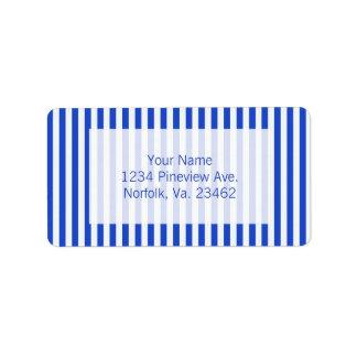 Rayas de la combinación del azul real de Shirley Etiqueta De Dirección