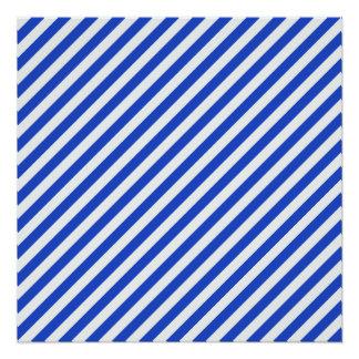 Rayas de la combinación del azul real de Shirley Perfect Poster