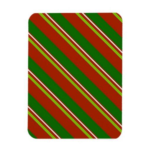 Rayas de la diagonal del navidad iman rectangular