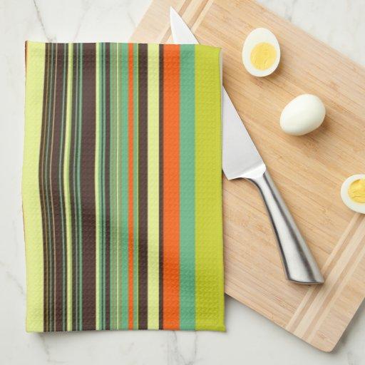 Rayas de la hierba del otoño toallas de cocina
