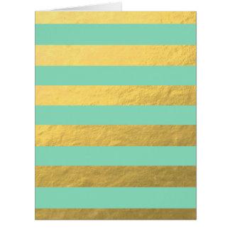 Rayas de la hoja de la menta y de oro impresas tarjeta de felicitación grande