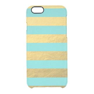 Rayas de la hoja del azul y de oro de Tiffany Funda Clearly™ Deflector Para iPhone 6 De Uncommon