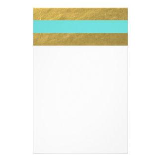 Rayas de la hoja del azul y de oro de Tiffany Papeleria Personalizada