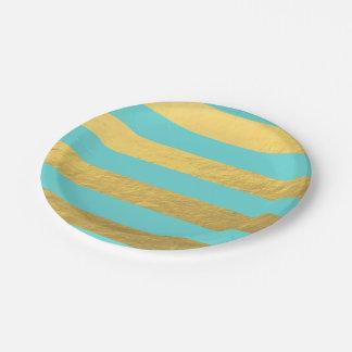 Rayas de la hoja del azul y de oro de Tiffany Plato De Papel De 7 Pulgadas
