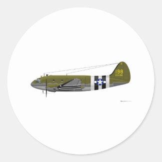 Rayas de la invasión del comando de Curtiss C-46 Pegatina Redonda