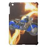 Rayas de la llama con la motocicleta azul