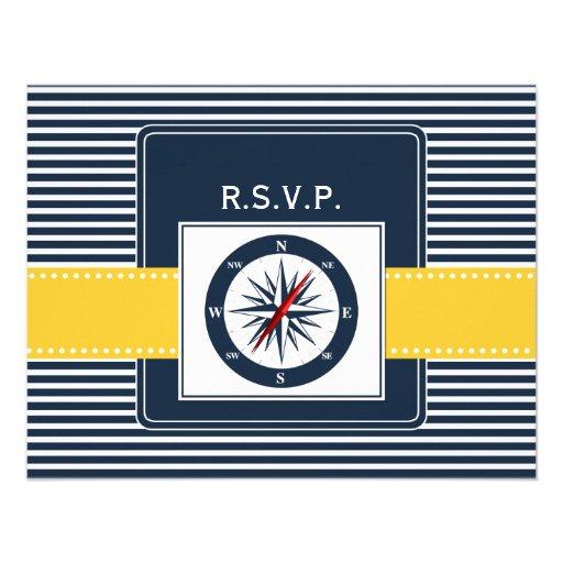 rayas de la marina de guerra, compás, rsvp náutico invitaciones personalizada