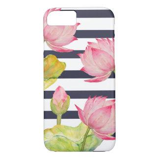 Rayas de la marina de guerra y caso rosado del funda iPhone 7