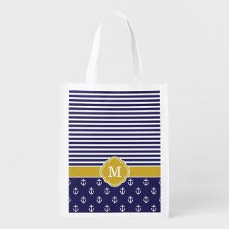 Rayas de la marina de guerra y del oro y monograma bolsa reutilizable
