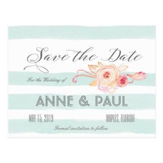 Rayas de la menta y reserva floral la fecha tarjeta postal