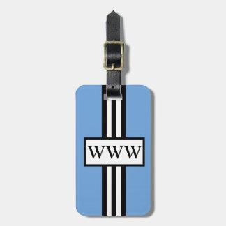RAYAS DE LA MODA LUGGAGE GIFT TAG_153 BLUE WHITE B ETIQUETA PARA EQUIPAJE