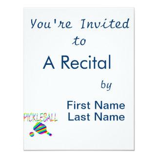 """rayas de la paleta del pickleball w y del arco invitación 4.25"""" x 5.5"""""""
