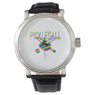 rayas de la paleta del pickleball w y del arco relojes de pulsera