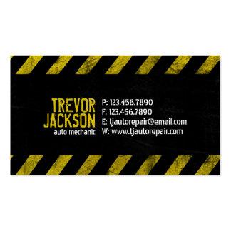 Rayas de la precaución - amarillo plantillas de tarjeta de negocio