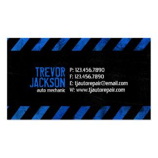 Rayas de la precaución - azul tarjeta de negocio