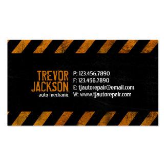 Rayas de la precaución - naranja plantilla de tarjeta personal