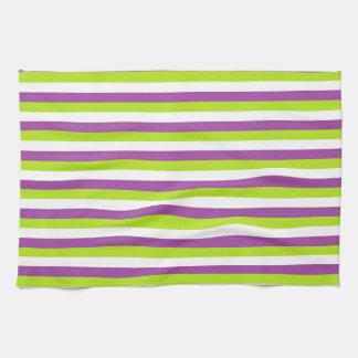 Rayas de la púrpura, de la verde lima y del blanco toallas de mano