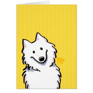 Rayas de la sol del samoyedo tarjeta de felicitación