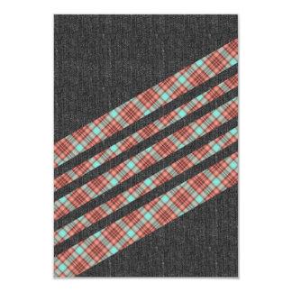 Rayas de la tela escocesa y de Jean Invitación 8,9 X 12,7 Cm