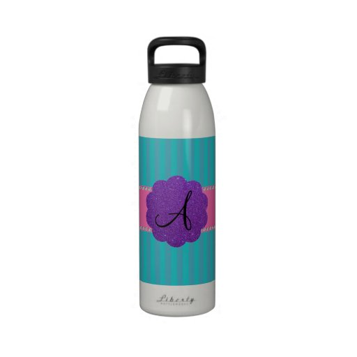 Rayas de la turquesa del monograma botella de beber