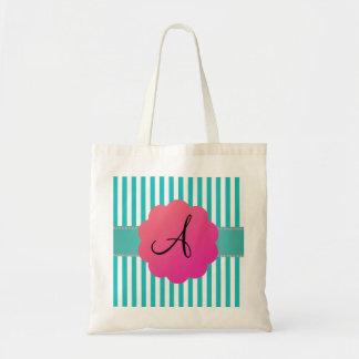 Rayas de la turquesa del monograma bolsas