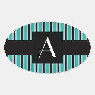 Rayas de la turquesa del monograma pegatinas de oval