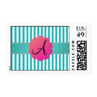 Rayas de la turquesa del monograma sello